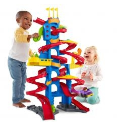 FISHER PRICE LITTLE PEOPLE TAKE TURNS SKYWAY MUZIKINIS BOKŠTAS SU MAŠINYTĖMIS
