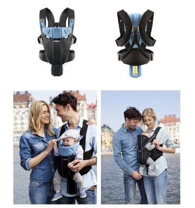 BABYBJORN NEŠIOKLĖ MIRACLE, COTTON MIX, BLACK/LIGHT BLUE