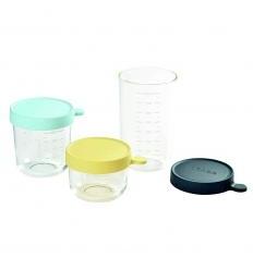BEABA 3 VNT. STIKLINIŲ INDELIŲ RINKINYS (150/250/400 ml)